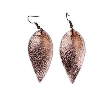 Jewelry - NWT! Rose Gold Teardrop Faux Leather Earrings